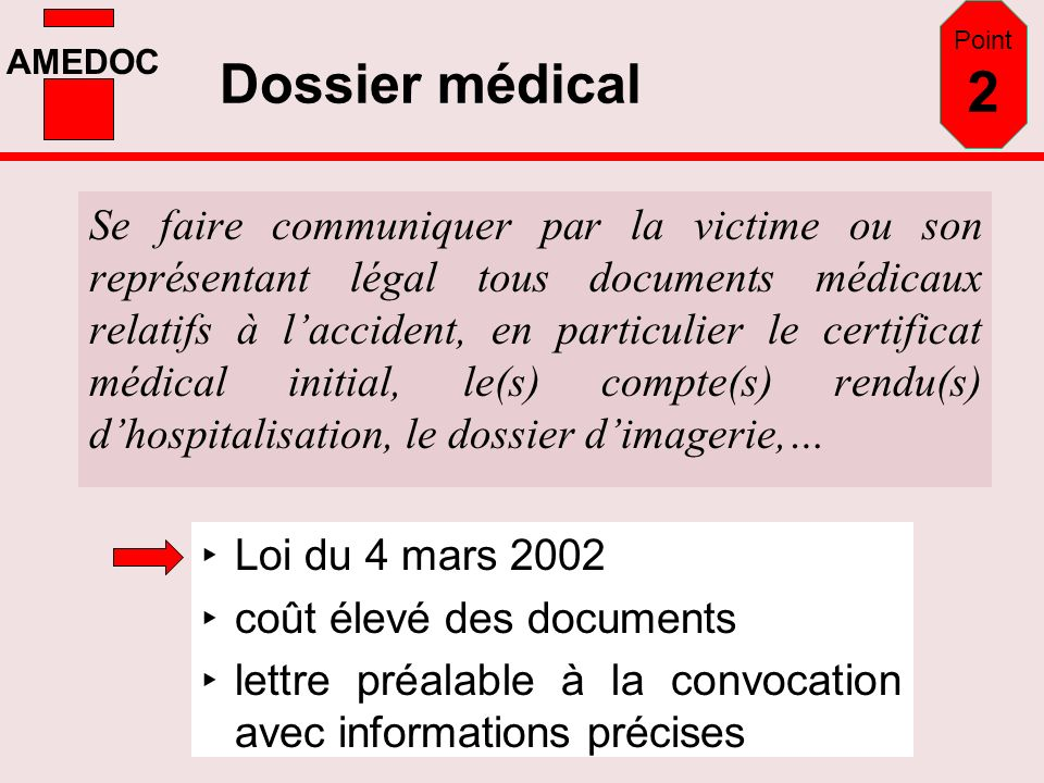 Point 2 Dossier médical.