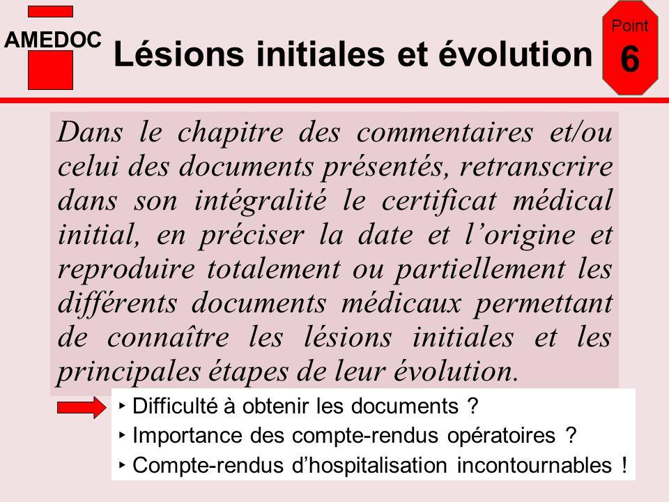Lésions initiales et évolution