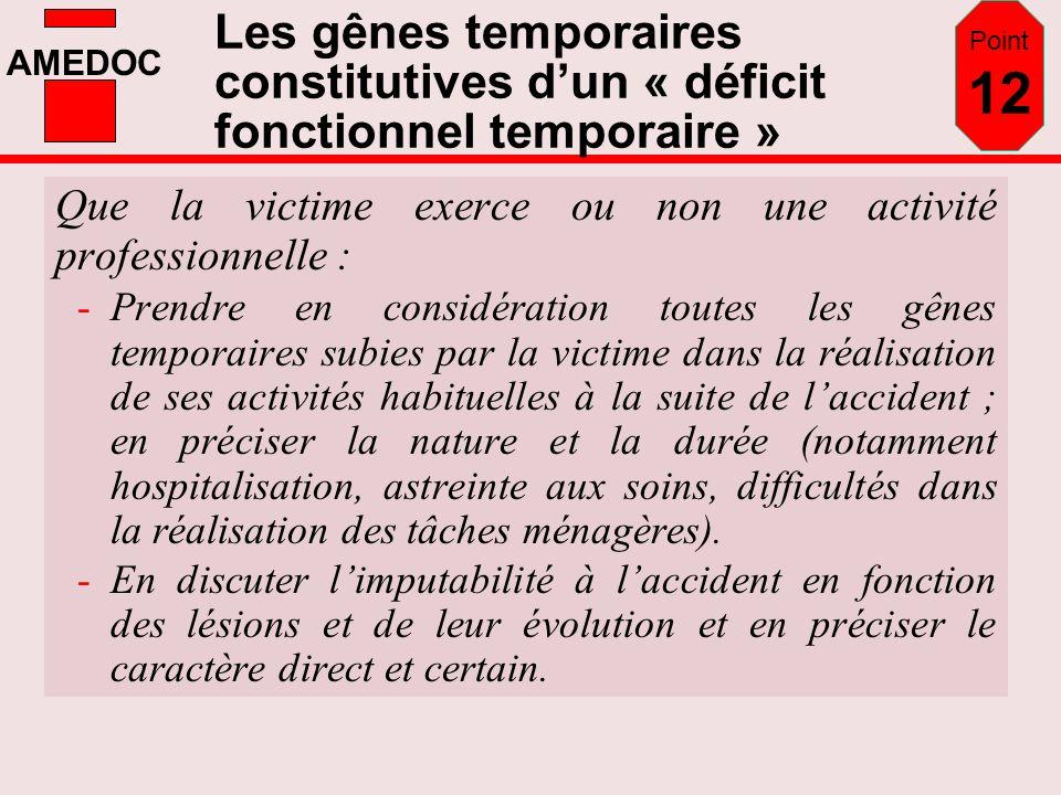 Point 12 Les gênes temporaires constitutives d'un « déficit fonctionnel temporaire » Que la victime exerce ou non une activité professionnelle :