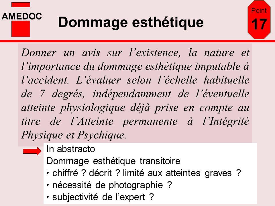 Point 17 Dommage esthétique.
