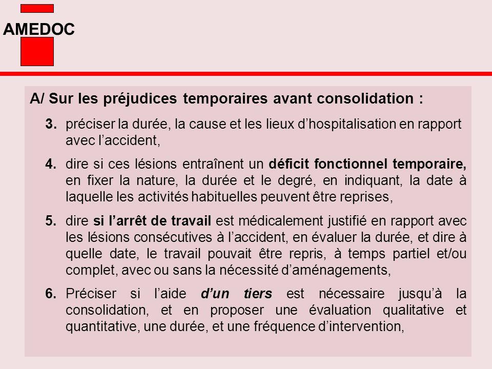 A/ Sur les préjudices temporaires avant consolidation :
