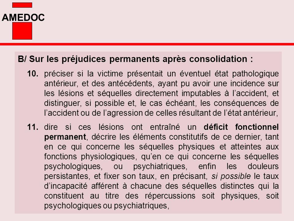 B/ Sur les préjudices permanents après consolidation :