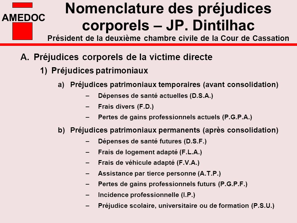 Nomenclature des préjudices corporels – JP