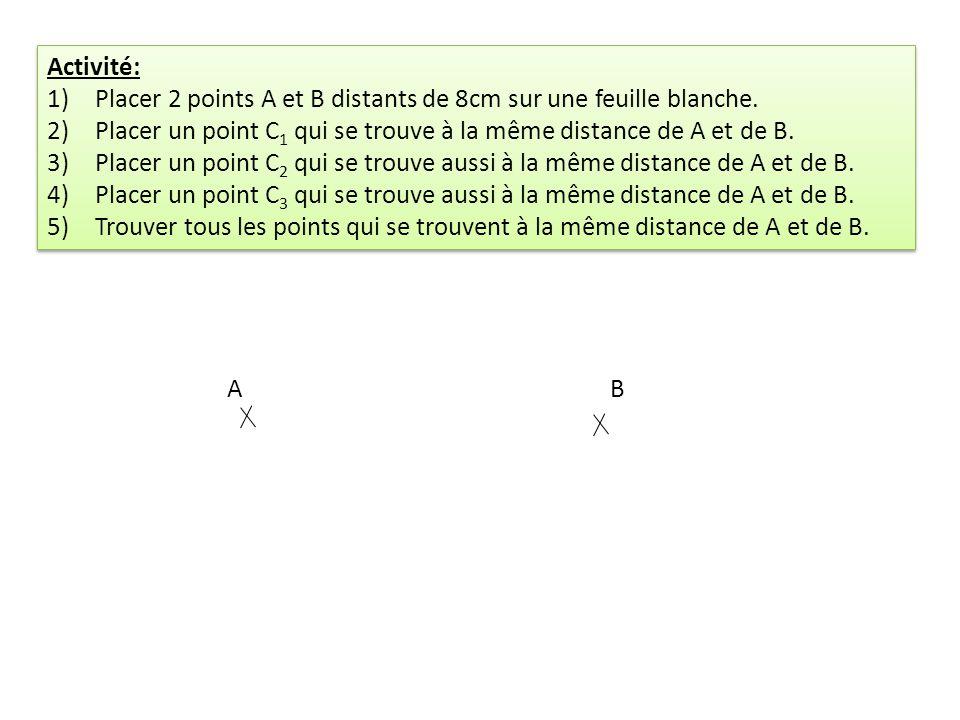 Activité: Placer 2 points A et B distants de 8cm sur une feuille blanche. Placer un point C1 qui se trouve à la même distance de A et de B.