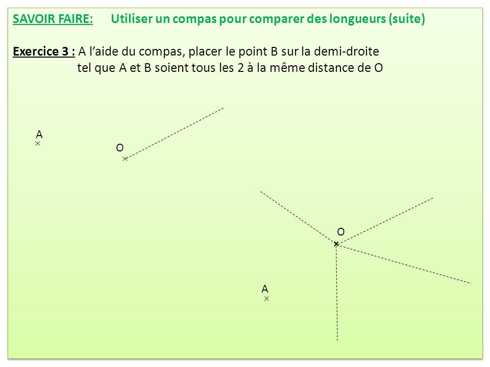 SAVOIR FAIRE: Utiliser un compas pour comparer des longueurs (suite)