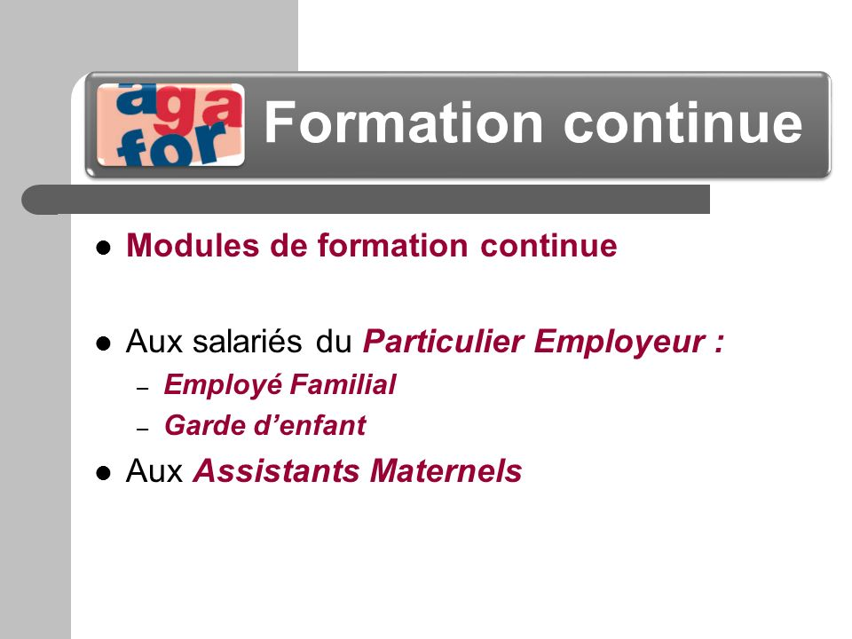Formation continue Modules de formation continue