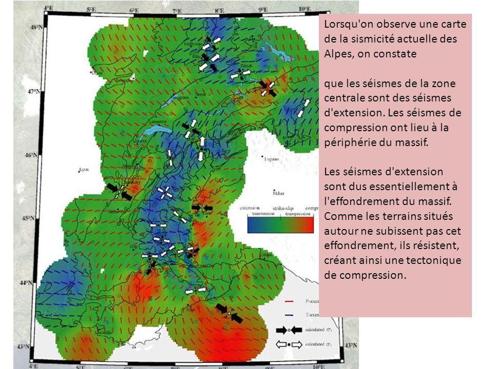 Lorsqu on observe une carte de la sismicité actuelle des Alpes, on constate
