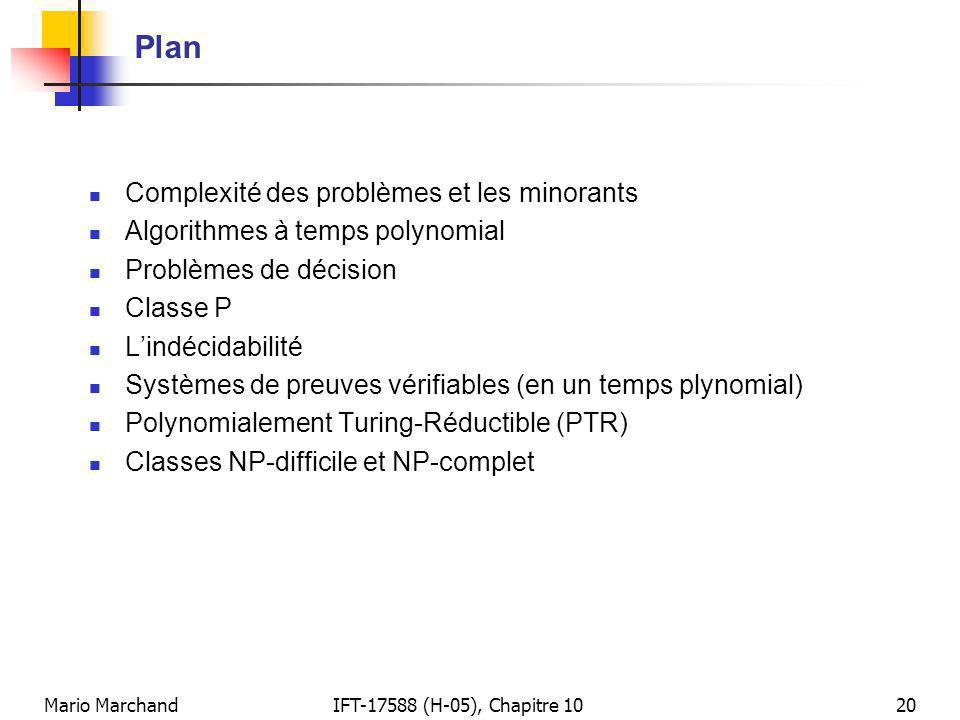 Plan Complexité des problèmes et les minorants
