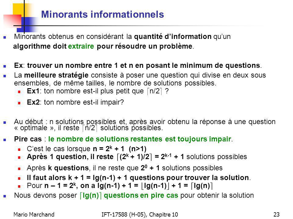 Minorants informationnels
