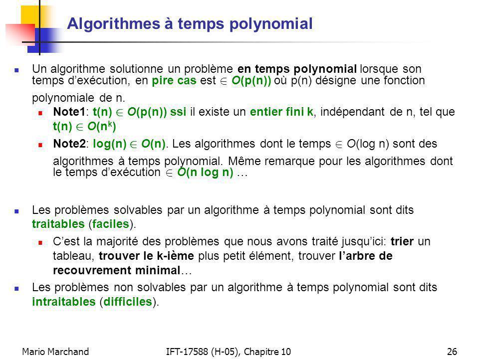 Algorithmes à temps polynomial