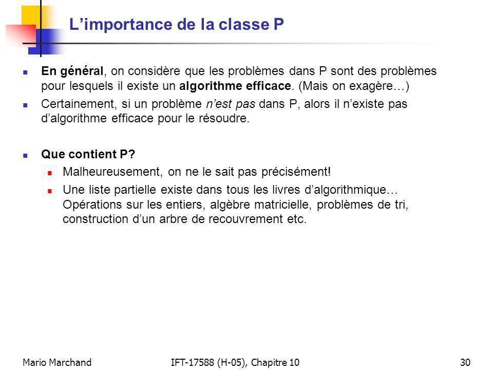 L'importance de la classe P