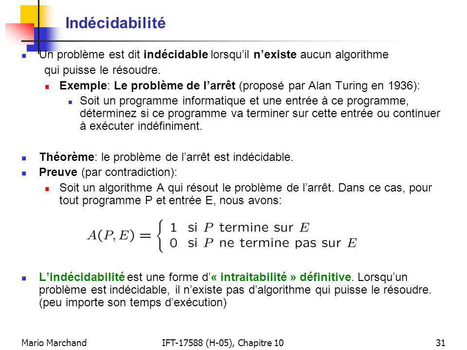 Indécidabilité Un problème est dit indécidable lorsqu'il n'existe aucun algorithme. qui puisse le résoudre.