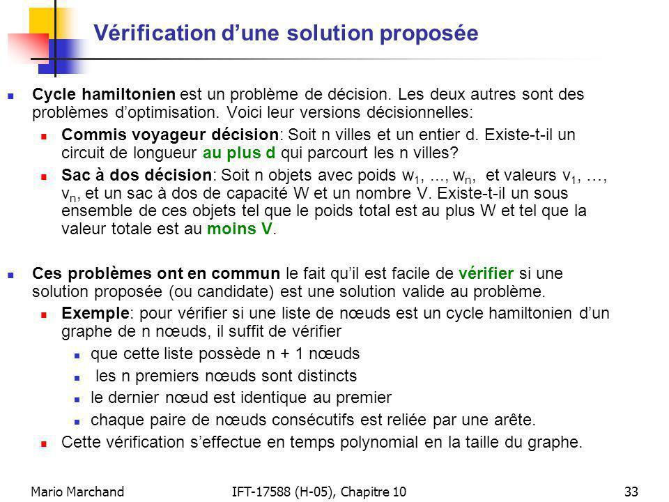 Vérification d'une solution proposée