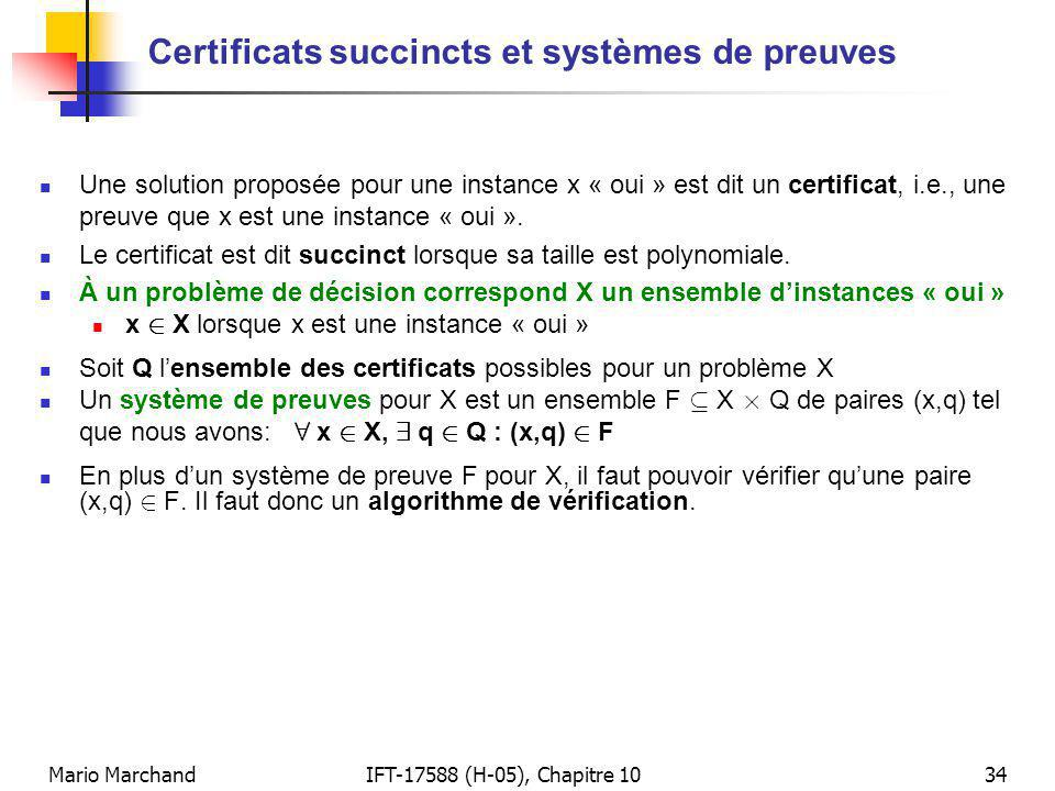 Certificats succincts et systèmes de preuves