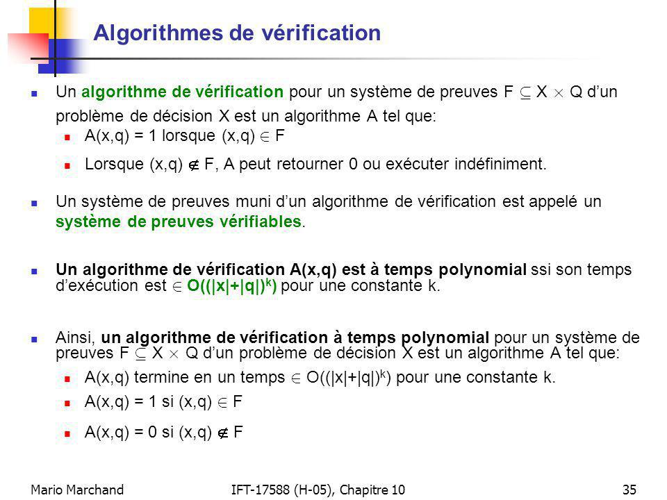Algorithmes de vérification