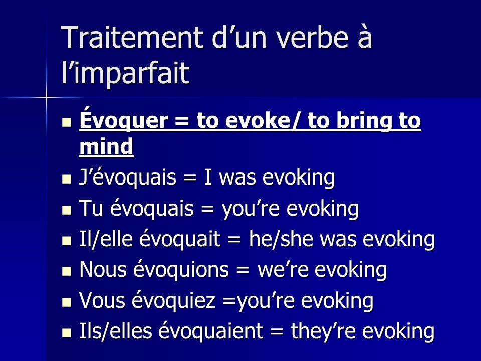 Traitement d'un verbe à l'imparfait