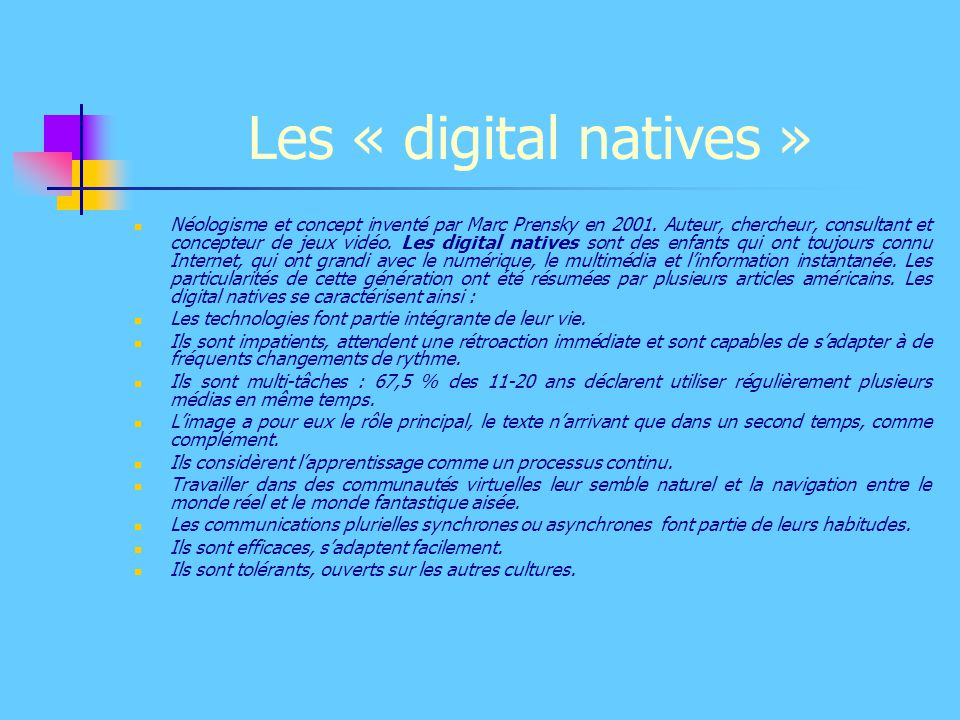Les « digital natives »