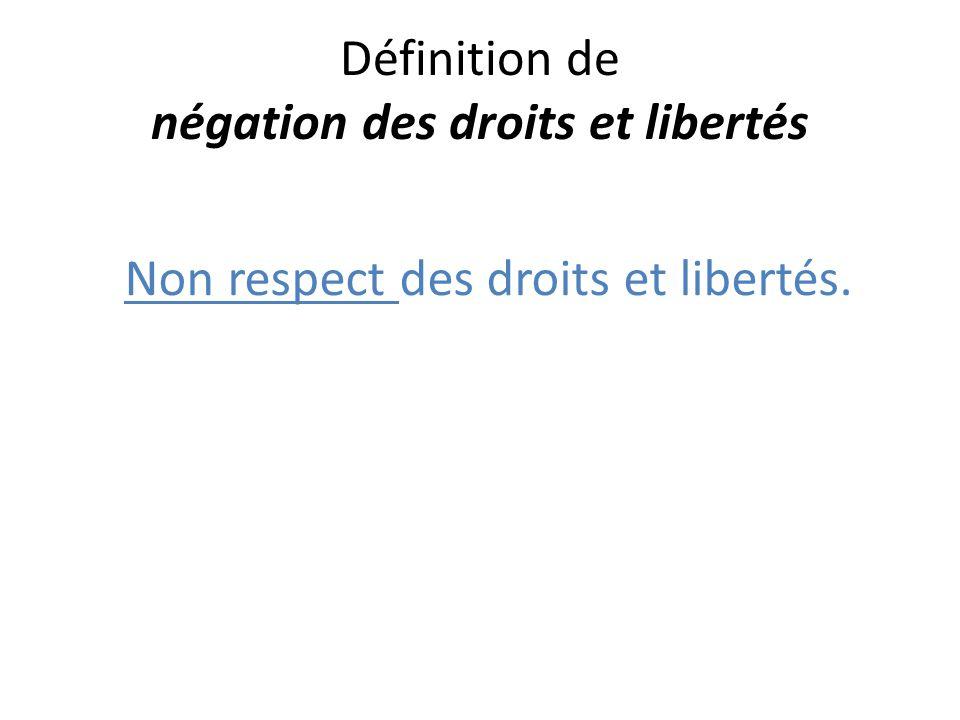 Définition de négation des droits et libertés