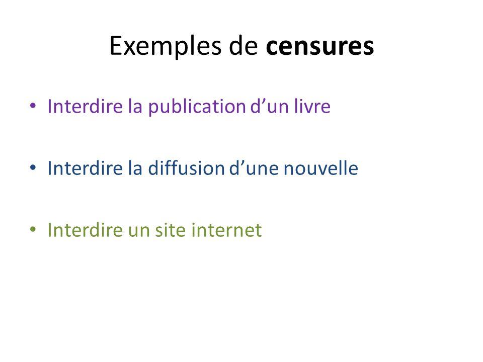 Exemples de censures Interdire la publication d'un livre
