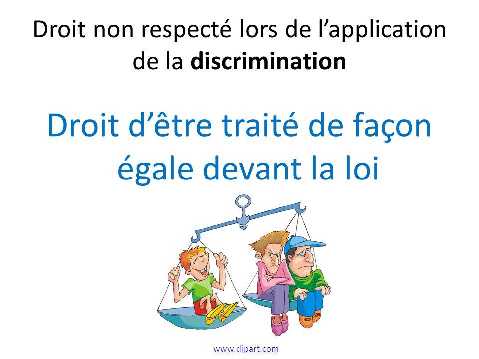 Droit non respecté lors de l'application de la discrimination