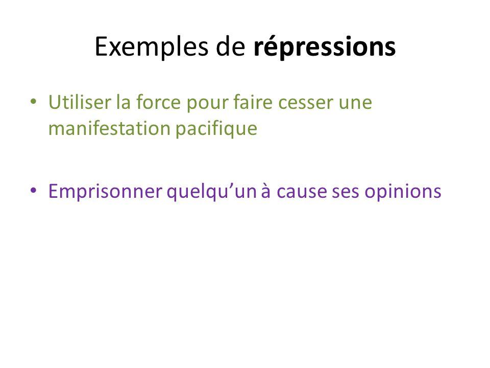 Exemples de répressions
