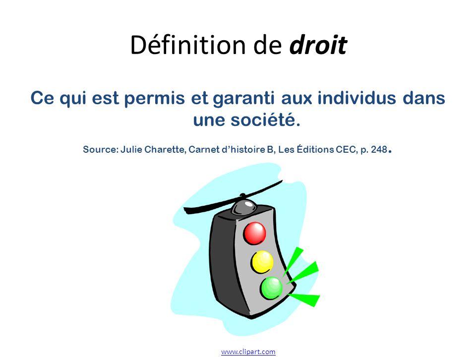 Définition de droit Ce qui est permis et garanti aux individus dans une société.