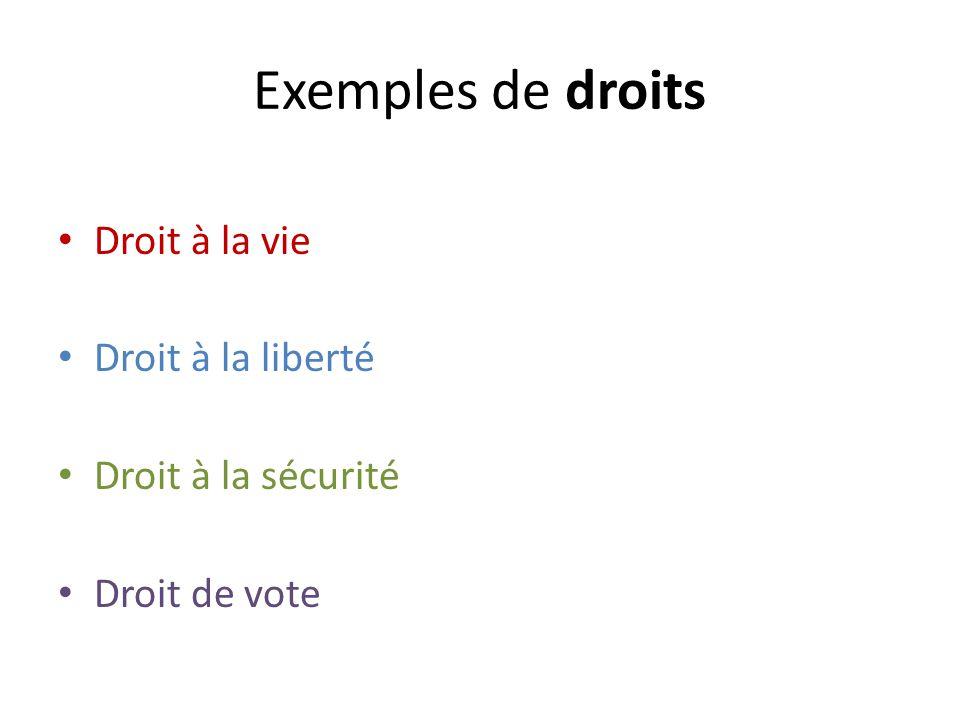 Exemples de droits Droit à la vie Droit à la liberté