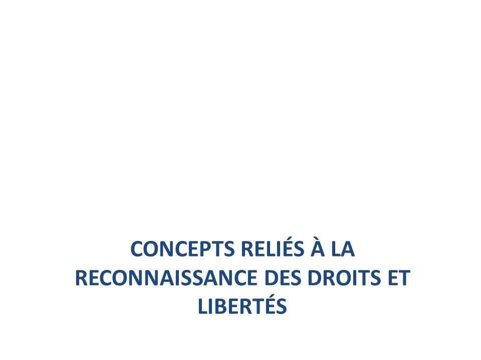 CONCEPTS RELIÉS À LA RECONNAISSANCE DES DROITS ET LIBERTÉS