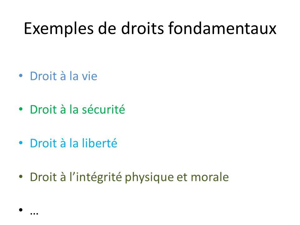 Exemples de droits fondamentaux