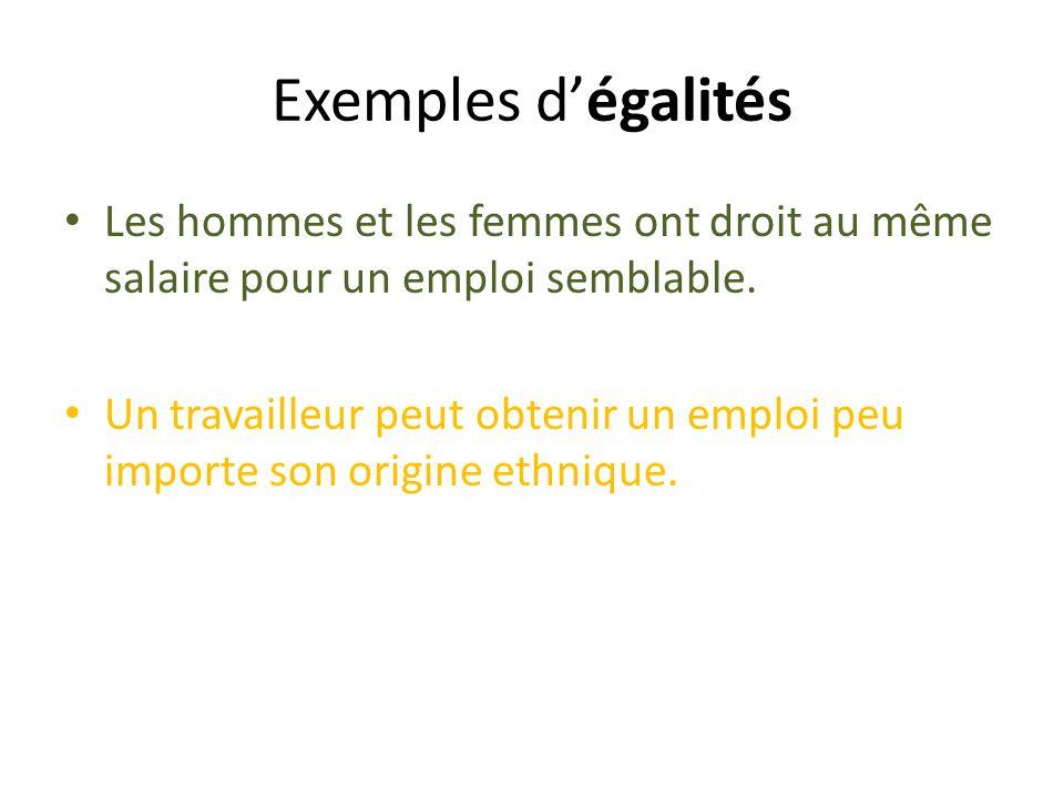 Exemples d'égalités Les hommes et les femmes ont droit au même salaire pour un emploi semblable.