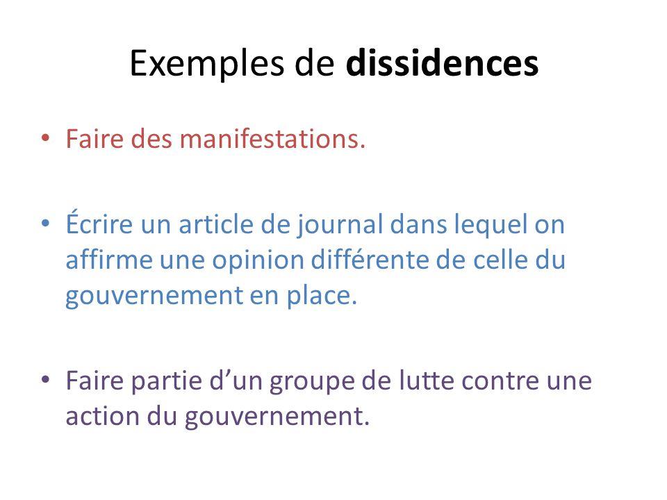 Exemples de dissidences