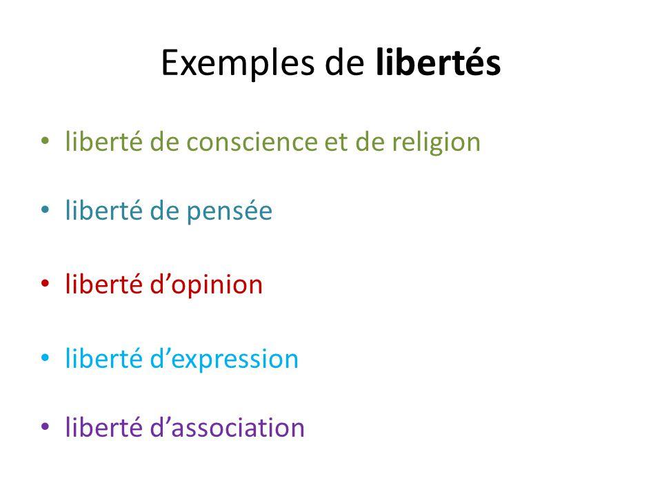 Exemples de libertés liberté de conscience et de religion