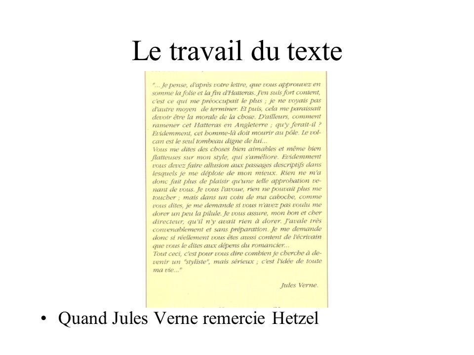 Le travail du texte Quand Jules Verne remercie Hetzel