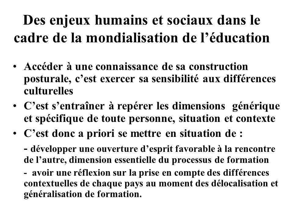 Des enjeux humains et sociaux dans le cadre de la mondialisation de l'éducation