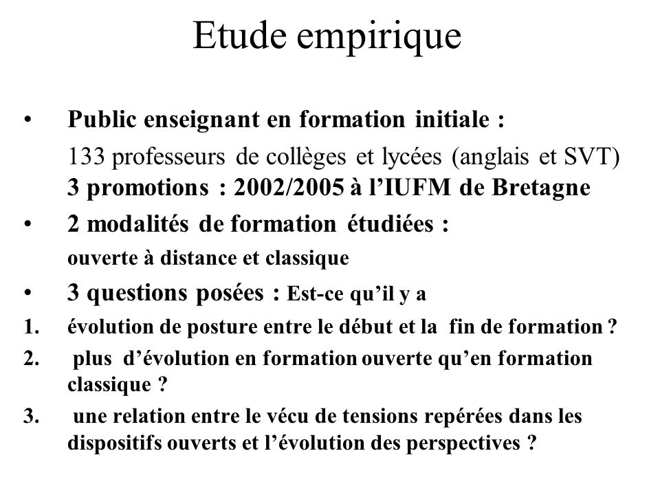 Etude empirique Public enseignant en formation initiale :