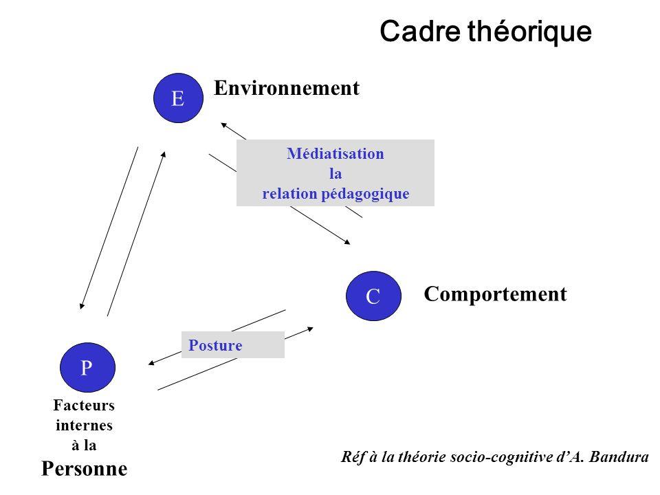 Cadre théorique Environnement E C Comportement P Médiatisation la