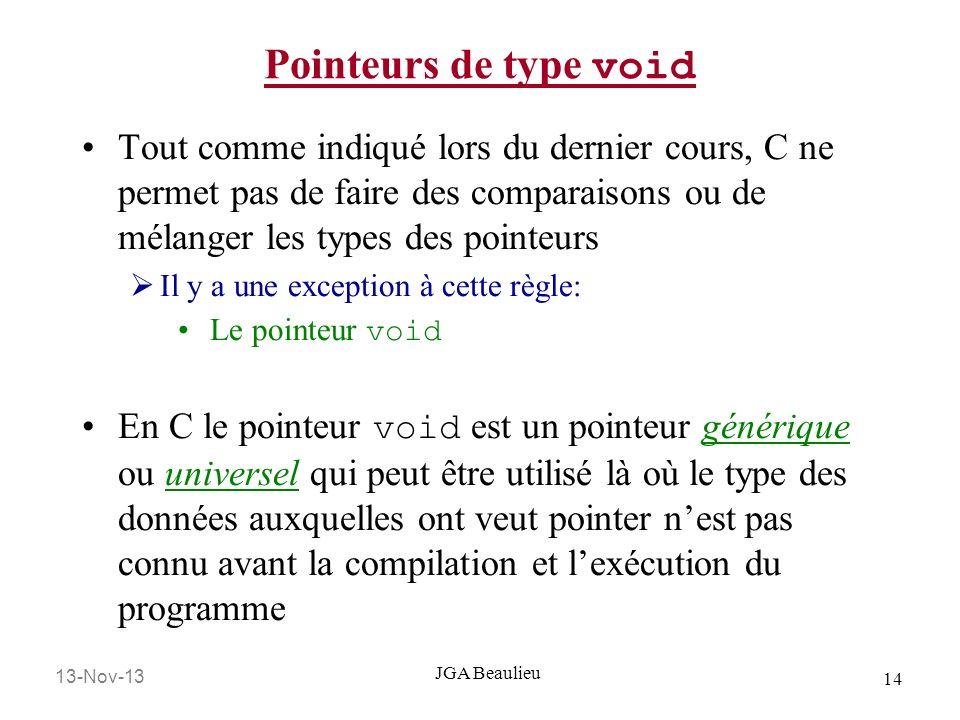Pointeurs de type void Tout comme indiqué lors du dernier cours, C ne permet pas de faire des comparaisons ou de mélanger les types des pointeurs.