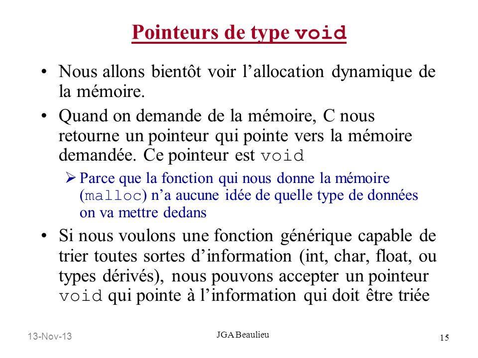 Pointeurs de type void Nous allons bientôt voir l'allocation dynamique de la mémoire.