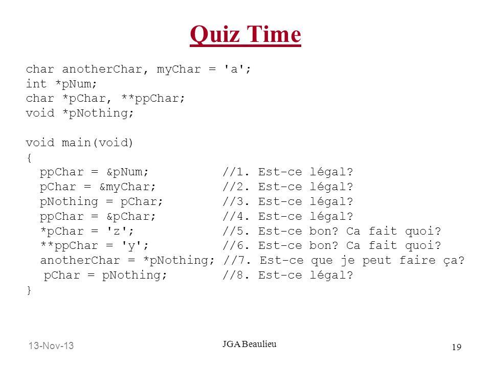 Quiz Time char anotherChar, myChar = a ; int *pNum;