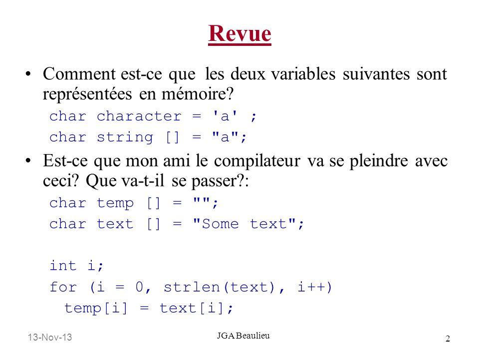 Revue Comment est-ce que les deux variables suivantes sont représentées en mémoire char character = a ;