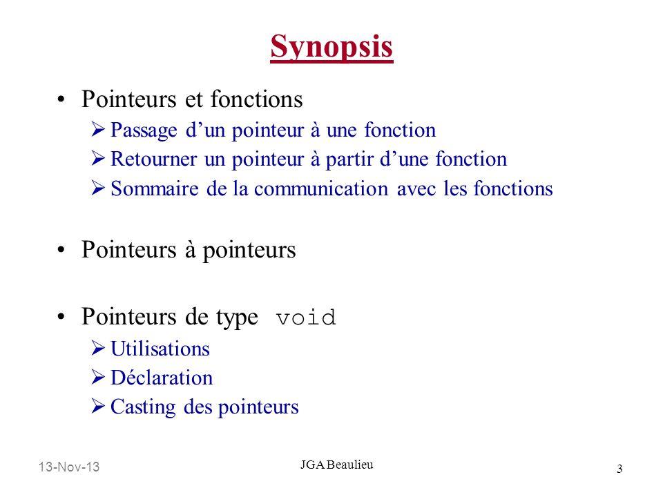 Synopsis Pointeurs et fonctions Pointeurs à pointeurs
