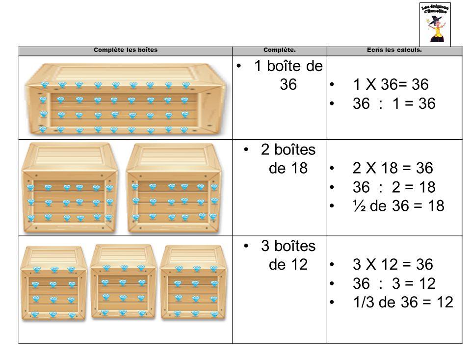 1 boîte de 36 1 X 36= 36 36 : 1 = 36 2 boîtes de 18 2 X 18 = 36