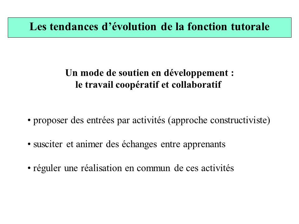 Les tendances d'évolution de la fonction tutorale
