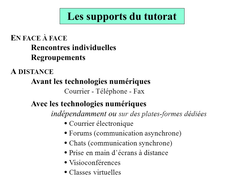 Les supports du tutorat