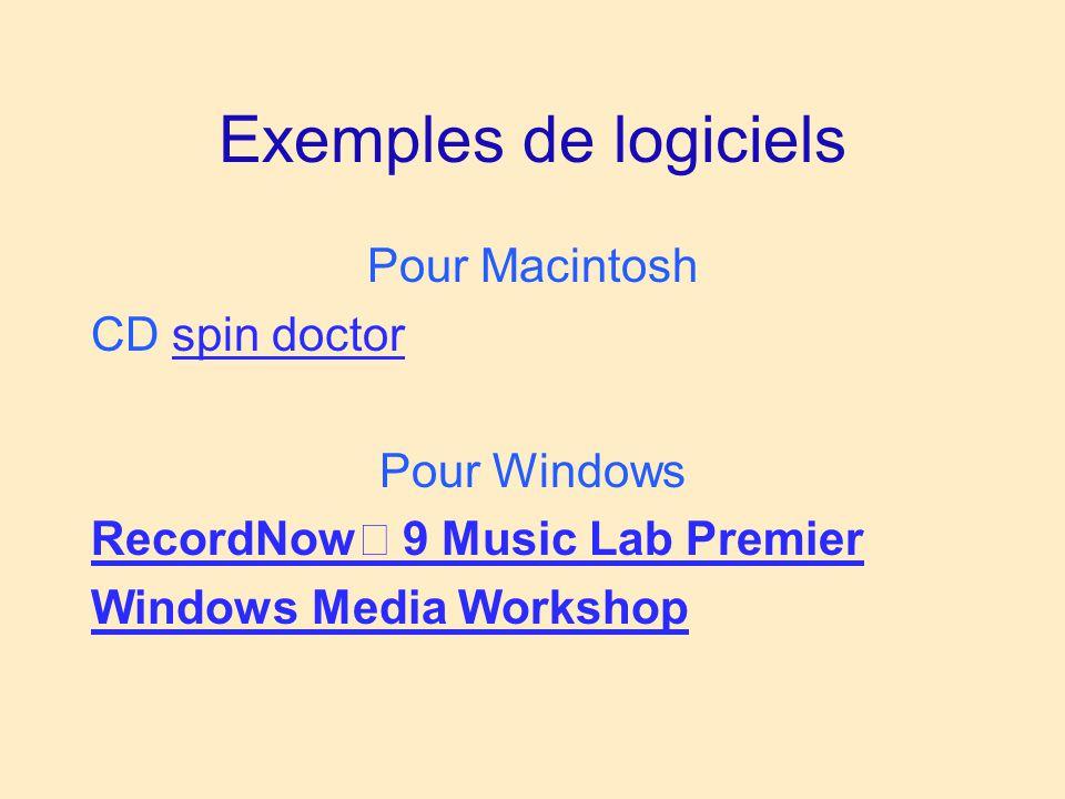 Exemples de logiciels Pour Macintosh CD spin doctor Pour Windows