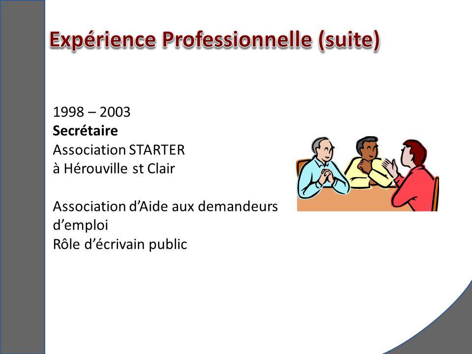 Expérience Professionnelle (suite)