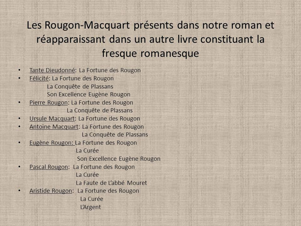 Les Rougon-Macquart présents dans notre roman et réapparaissant dans un autre livre constituant la fresque romanesque