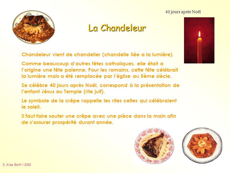 40 jours après NoëlLa Chandeleur. Chandeleur vient de chandelier (chandelle liée a la lumière).