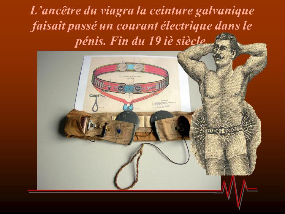 L'ancêtre du viagra la ceinture galvanique faisait passé un courant électrique dans le pénis.