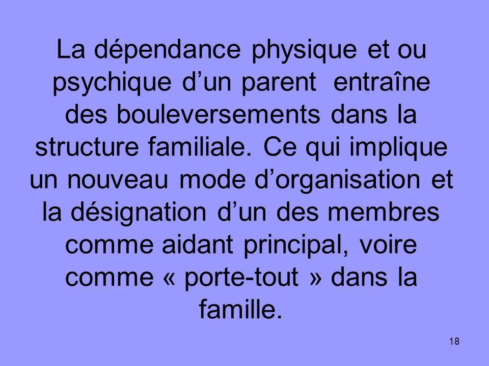 La dépendance physique et ou psychique d'un parent entraîne des bouleversements dans la structure familiale.